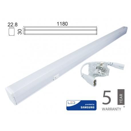 Plafoniera Tubo Led T5 120cm 16W Freddo 6400K Lineare Raccordabile Allungabile Chip Smd Samsung SKU-697