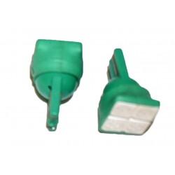 Coppia 2 Lampade Led T10 Con 4 Smd 5050 Frontale Colore Verde Green 12V 0,5W