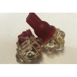 Coppia 2 Lampade Led T10 Con 5 Led F5 Flux Colore Rosso Red 12V 0,2W