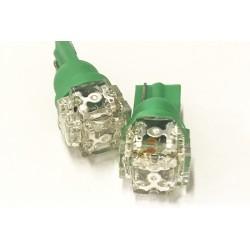 Coppia 2 Lampade Led T10 Con 5 Led F5 Flux Colore Verde Green 12V 0,2W