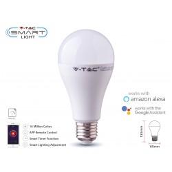 V-TAC Smart Lampada Led Bulb E27 A65 15W WiFi RGB CCT Dimmerabile APP Compatible Amazon Alexa Google Home SKU-2753