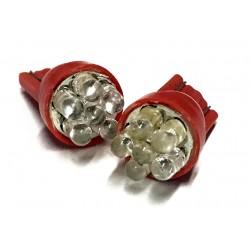 Coppia 2 Lampade Led T10 Con 6 Led F3 Colore Rosso Red 12V 0,2W