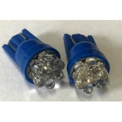 Coppia 2 Lampade Led T10 Con 7 Led F3 Colore Blue Blu 12V 0,2W