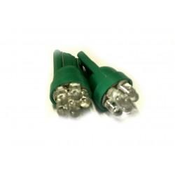 Coppia 2 Lampade Led T10 Con 7 Led F3 Colore Verde Green 12V 0,2W