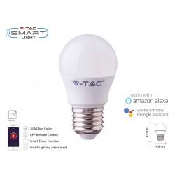 V-TAC Smart Lampada Led Bulb E27 G45 4,5W WiFi RGB CCT Dimmerabile APP Compatible Amazon Alexa Google Home SKU-2755