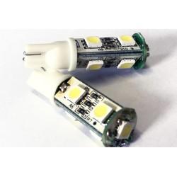 Coppia 2 Lampade Led T10 Con 7 Smd 5050 Colore Bianco Freddo 6000K 12V 1W
