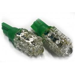 Coppia 2 Lampade Led T10 Con 9 Led F5 Flux Colore Verde Green 12V 1W
