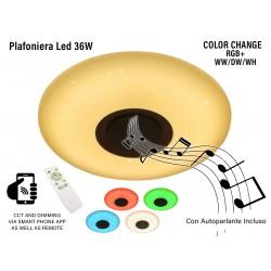 V-TAC Smart Plafoniera Led RGB CCT 36W Con Altoparlante Speaker Con Telecomando e Bluetooth SKU-1490