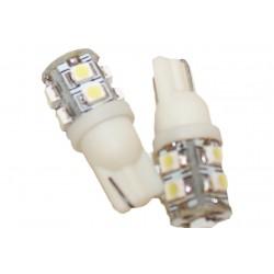 Coppia 2 Lampade Led T10 Con 9 Smd 3528 Colore Bianco Freddo 6000K 12V 1W