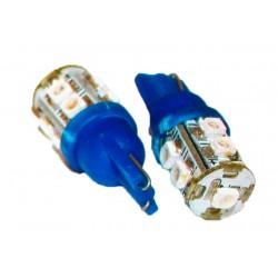 Coppia 2 Lampade Led T10 Con 9 Smd 3528 Colore Blue Blu 12V 1W