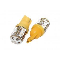 Coppia 2 Lampade Led T10 Con 9 Smd 3528 Colore Giallo Yellow 12V 1W