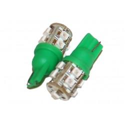 Coppia 2 Lampade Led T10 Con 9 Smd 3528 Colore Verde Green 12V 1W