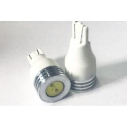 Coppia 2 Lampade Led T10 T15 Con 1 Power Led Colore Bianco Freddo 6000K 12V 1W