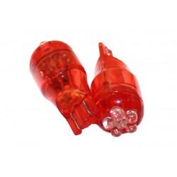 Coppia 2 Lampade Led T10 T15 Con 6 Led F3 Colore Rosso Red 12V 0,2W