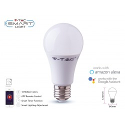V-TAC Smart Lampada Led Bulb E27 A60 11W WiFi RGB CCT Dimmerabile APP Compatible Amazon Alexa Google Home SKU-2752