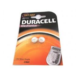 Pila Batteria A Bottone Duracell Silver Oxide 357 303 D357 SR44W KS76 Per Orologi Calcolatrice Confezione Da 2 Pile
