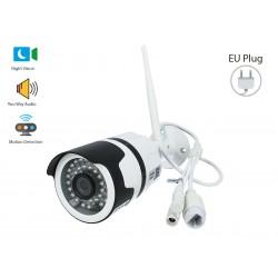 Telecamera di Videosorveglianza da Interno e Esterno IP Camera Wifi 1080P con Visione Notturna e Sensore di Movimento e 2 Canal