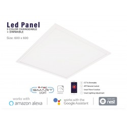 V-TAC Smart Pannello Led 40W 60X60cm 4800lm WiFi CCT Dimmerabile APP Compatible Amazon Alexa Google Home SKU-8080