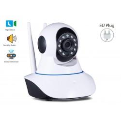 Telecamera di Videosorveglianza IP Camera da Interno Wifi 720P con Visione Notturna e Sensore di Movimento e 2 Canali Audio Mic