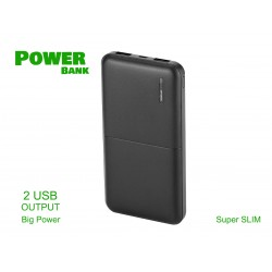 Portable Power Bank Slim 10000mAh Colore Nero Batteria Litio Esterna Portatile Con 2 USB 5V 2,1A SKU-8897