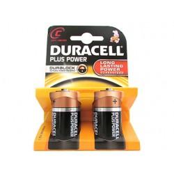 Pila Batteria Duracell Alkaline LR14 MN1400 Plus Tipo Torcia C 1,5V Confezione Da 2 Pile