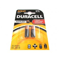 Pila Batteria Duracell Alkaline LRV08 A23 K23A MN21 MN23 Duralock 12V Confezione Da 2 Pile