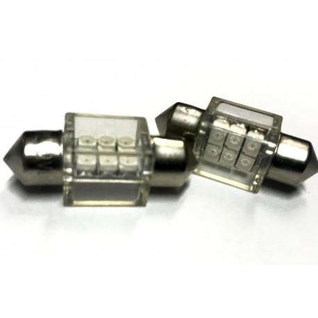 Coppia 2 Lampade Led T11 C5W Siluro 31mm Quadrato Con 6 Smd 3528 Colore Blu Blue 12V 1W