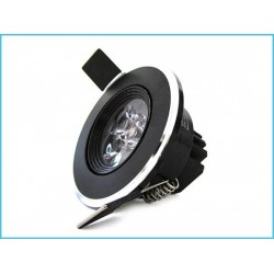 FARETTO DA INCASSO SLIM Nero con 3 Power Led da 1W (220V)