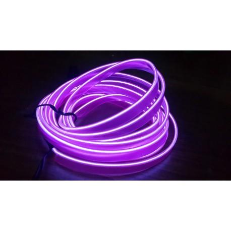 Stringa EL Striscia Neon Led Viola 5 Metri Flessibile Tagliabile Luce Decorativa Atmosfera Per Interno Auto Camion Camper Sfila