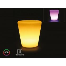 Vaso Fiori Luminoso Con Lampada Luce Led RGBW Ricaricabile Telecomando Incluso IP54 28X28X29cm SKU-40181