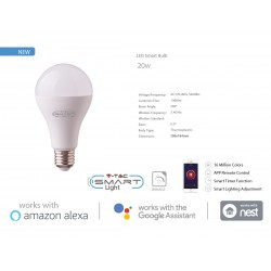 V-TAC Smart WiFi Bulb Lampada Led E27 A95 18W RGB CCT Dimmerabile APP Compatible Amazon Alexa Google Home SKU-7470