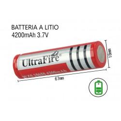 Pila Batteria 18650 4200mAh 3.7V Li-ion Ricaricabile Per Torcia Led