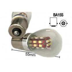 Coppia 2 Lampade Led BA15S 1156 P21W Con 28 Smd 3014 Giallo Arancione 12V 2W Stessa Grandezza Originale