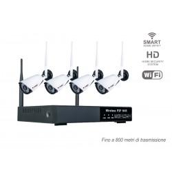 Kit di Videosorveglianza WiFi Con 4 Telecamere IPC IP65 e NVR 4 Canali P2P Sensore di Movimento Avviso Via Email Audio Video SK
