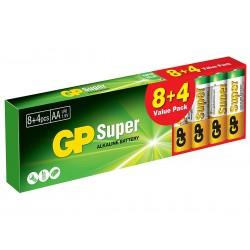 12 Pezzi Pila Batteria GP Super Alkaline Tipo Stilo AA 1,5V GP15A8 4ET-2WPB12 LR6 Confezione Da 12 Pile