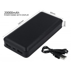 Portable Power Bank 20000mAh Colore Nero Batteria Litio Esterna Portatile Con 2 USB 5V 2,1A SKU-8190