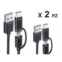 2 Pezzi Cavo USB Dati Ricarica Con Mini USB e Tipo C 2 In 1 Colore Nero 1 Metro Per Smartphone Android