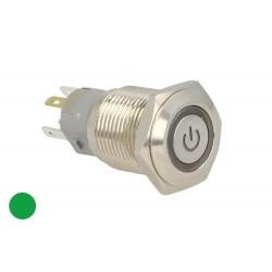Interruttore Pulsante Bilanciere Metallo Rotondo 5 Pin Con Spia Led Verde 12V Auto Camper Foro 16mm Stagno IP67