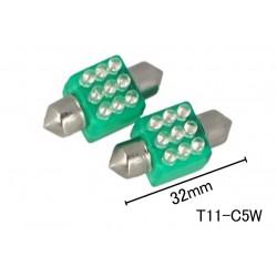Coppia 2 Lampade Led T11 C5W Siluro 32mm Quadrato Con 9 Led F3 Colore Verde Green 12V 0,2W