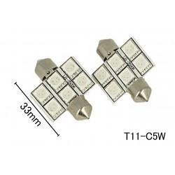 Coppia 2 Lampade Led T11 C5W Siluro 33mm Con 6 Smd 5050 Colore Rosso 12V 1W