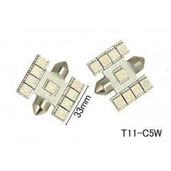 Coppia 2 Lampade Led T11 C5W Siluro 33mm Con 9 Smd 5050 Colore Blue Blu 12V 1W