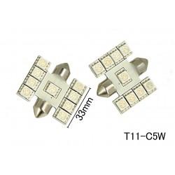 Coppia 2 Lampade Led T11 C5W Siluro 33mm Con 9 Smd 5050 Colore Rosso 12V 1W