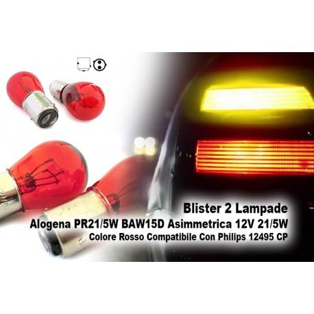 Blister 2 Lampade Alogena PR21/5W BAW15D Asimmetrica 12V 21/5W Colore Rosso Compatibile Con Philips 12495 CP