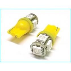 Lampada Led T10 W5W 5 Smd 5050 Arancione Frecce Laterale 12V