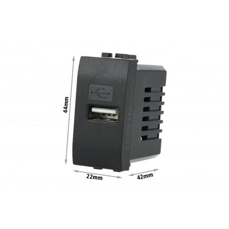 Caricatore USB 5V 2,1A Placca Bticino Nero Per Scatola 503 504 505 Fast Charge