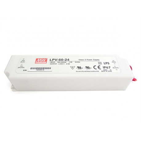 Alimentatore Trasformatore CV MeanWell Impermeabile IP67 24V 60W 2,5A LPV-60-24