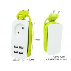 Multipresa Ciabatta Elettrica Caricabatterie 4 Porte USB 5V 2,4A Fast Charge 1 Posto 2P 10A Cavo 1,5 Metri Bianco