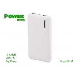 Portable Power Bank Slim 10000mAh Colore Bianco Batteria Litio Esterna Portatile Con 2 USB 5V 2,1A SKU-8898