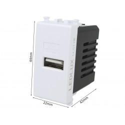 Modulo Caricatore USB 5V 2,1A Compatibile Con Placca Vimar Plana Colore Bianco Da Muro Per Scatola 503 504 505 Ricarica Veloce
