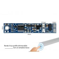 Interruttore Led Dimmer Sensore Touch Tocca Profilato Alluminio 12V 24V 3A Con Memoria Max 3 Metri